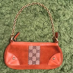 Burnt orange suede Gucci chain handbag
